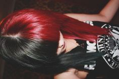hair, hair color, multi-colored hair, half and half, red hair, black hair, red, black