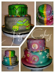 Princess and Ninja Turtle Cake Kalis parties Pinterest