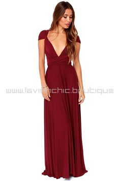 Tricks Of The Trade Burgundy Maxi Dress (Convertible Dress) - by LavishChic.boutique
