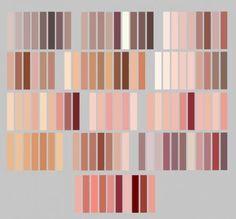 My skintones by Lily-Fu on DeviantArt skin/lip palette by GalaxyNarwhal Skin Color Palette, Palette Art, Digital Art Tutorial, Digital Painting Tutorials, Skin Color Chart, Color Palette Challenge, Wie Zeichnet Man Manga, Poses References, Color Studies