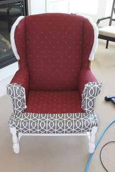 Recovering a chair without removing old fabric - great idea