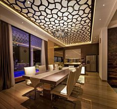 Faux plafond design et sol carrelé dans une maison design !