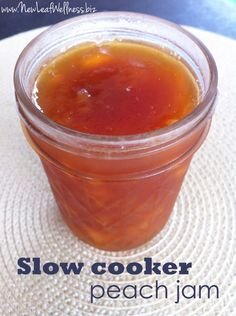 Slow Cooker Peach Jam Recipe.  Only 4 ingredients and your Crockpot does the work.  Love this recipe!