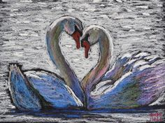 "9x12 Original Swan Painting - Oil Pastels- ""Swan Sweethearts"" - Not a Print - bird art - European Mute Swans Swimming - Romance- love"