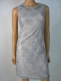 $140 Adrianna Papell Silver Gray Embellished Lace Sheath Dress 4 NWT A787 #AdriannaPapell #Sheath #Cocktail