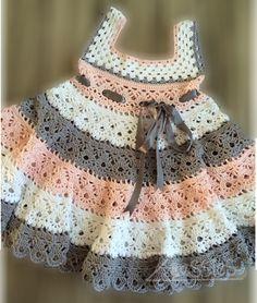 Baby Crochet Patterns Part 26 - Beautiful Crochet Patterns and Knitting Patterns Crochet Toddler Dress, Crochet Baby Dress Pattern, Baby Dress Patterns, Crochet Baby Clothes, Crochet For Kids, Knit Crochet, Crochet Patterns, Geek Baby, Kawaii Crochet