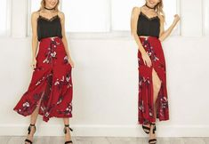 Boho print long Women skirt with split Material: ViscoseStyle: BohemianPattern Type: PrintSilhouette: StraightDecoration: ButtonDresses Length: Ankle-LengthWa Floral Fashion, Boho Fashion, Spring Fashion, Fashion Outfits, Beach Skirt, Button Skirt, Cheap Skirts, Long Skirts For Women, Printed Maxi Skirts