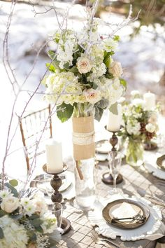 winter wonderland wedding reception inspiration http://www.weddingchicks.com/2014/02/06/rustic-winter-styled-shoot/