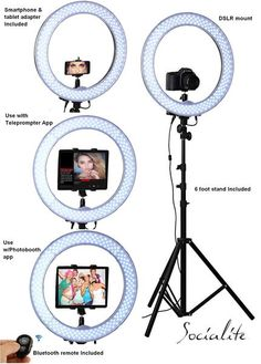 SOCIALITE LED Live Video iPad Ring Light Kit - Includes Ring Light Stand Bluetooth Remote Heavy Duty Mounts for iPad tablets DSLR Digital Cameras iPhone 7 Plus Smartphones Perfect for Teleprompter or Photobooth Photos Booth, Diy Photo Booth, Diy Wedding Photo Booth, Youtube Setup, Youtube Hacks, Led Ring Light, Ring Light For Camera, Accessoires Iphone, Bluetooth Remote