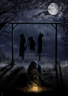 picture prompt: tell the tale My story: She's a witch who can't be killed that way, but her whole family was accused of being witches so they were hanged. The real witch hung there until everyone left and then cried for her mother and her younger sisters. By. Sarah Wirick