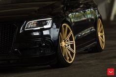 Need a burst of inspiration? Take a look at the Audi Looking Menacing Being Blacked Out and Sitting on Bronze Custom Wheels photos and go back to customizing your vehicle with renewed passion. Bronze Wheels, Gold Wheels, Car Wheels, S8 Audi, Black Audi, Black Truck, Custom Wheels, Alloy Wheel, Cool Cars