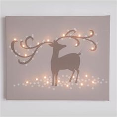 Taupe Christmas Illuminated Wall Art - Reindeer Taupe, Glow Canvas, 40x32cm