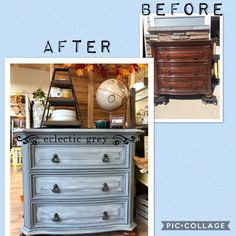 Who doesn't love a good before & after on this Dixie Belle refinished Bombay style dresser. Eclectic Grey located in Ft Collins, CO.
