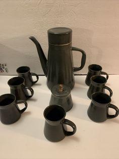 DAVID GIL BENNINGTON VERMONT POTTERY Cooperative Design PITCHER, 7 CUPS & Sugar | eBay
