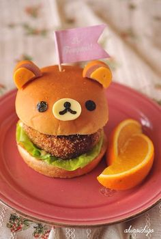 Kids Lunch Idea: Rilakkuma Bear Burger (Ears are made by Sausages, Face is Cheese and Nori Seaweed.): Kids Lunch Idea: Rilakkuma Bear Burger (Ears are made by Sausages, Face is Cheese and Nori Seaweed. Cute Food, Good Food, Yummy Food, Cute Bento, Bento Recipes, Food Humor, Macaroons, Creative Food, Japanese Food