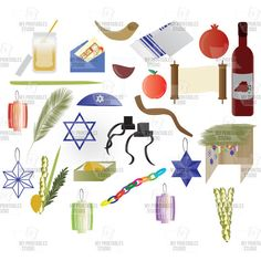Rosh Hashanah, Yom kippur, Sukkot Jewish Holidays clip arts - commercial use cliparts - 26 Instant Download illustrations - png and jpg by MyPrintablesStudio on Etsy