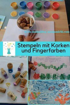 Stempeln mit Korken und Fingerfarben