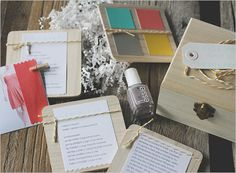 """""""Will you be my bridesmaid?"""" box with color swatches, nail polish, potential dress pics and fabric swatches, and a personal note. Amanda Cherie."""
