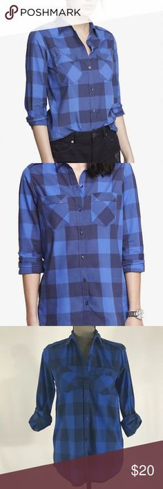 """Express Checked Convertible Sleeve Boyfriend Shirt -Brand: Express -Color: Blue -Condition: In excellent pre-owned condition. No rips, tears or stains. -Product Details:   -> Lightweight, looks great with shorts or jeans.   -> Long convertible sleeves with button cuffs  -> Patch chest pockets -Size Type: Regular -Size (Women's): XS -Material / Care : Cotton / Machine Wash -MSRP: $59.90  Length (shoulder to hem): 27"""" Chest (armpit to armpit): 19"""" Express Tops Button Down Shirts"""