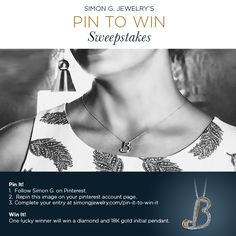 Searching for the perfect #jewelry to complete your summer look? Enter our Pin to Win sweepstakes for a chance to win a #SimonG pendant with your initial! Entry Form: http://www.simongjewelry.com/pin-it-to-win-it/