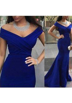 Prom dress Formal dress Royal Blue Off The Shoulder Brush Train Trumpet Mermaid Prom Dress