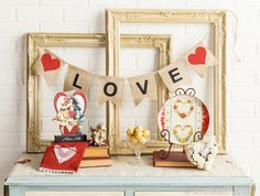 We love sweet and vintage Valentine's Day vignettes. (Sold in stores only.)