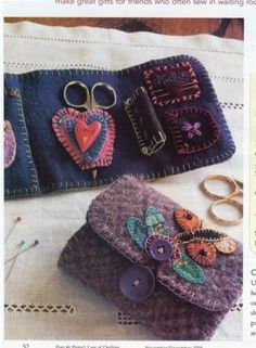 """Acorn hill teachers made all kinds of these - love them! Wool sewing wallet  4 1/4""""  by  9"""""""