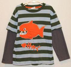 Boys-Mini-BODEN-Fish-Shirt-Top-SIZE-7-8-years-VGUC