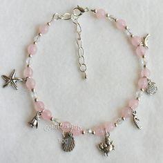 Semi Precious GemStone Shell Seahorse Starfish Crab Charm Anklet Ankle bracelet