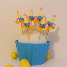 Blue Elephants/Circus Theme Toppers by PartyPopPop on Etsy, $18.00