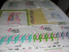 Make a t-shirt quilt from all those charity race t-shirts.   HerKentucky