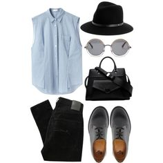 blu, gry, blck by livyyrosee on Polyvore featuring polyvore, fashion, style, Acne Studios, Nobody Denim, Dr. Martens, rag & bone, The Row and Proenza Schouler