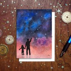 The watercolor galaxy painting featured on this card was inspired by my awesome dad, who instilled in me a great appreciation for science and a hearty sense of wonder about the magical world we live i Watercolor Galaxy, Watercolor Cards, Watercolor Paintings, Galaxy Painting Diy, Painting Inspiration, Art Inspo, Dad Drawing, Art Drawings, Drawings For Dad