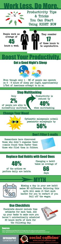 How to be Productive by Doing More and Working Less - Lifehack #infografía