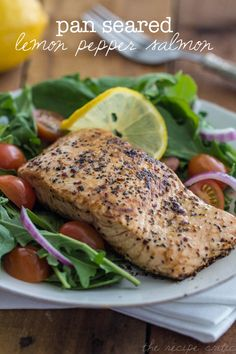 Pan seared lemon pepper salmon - I baked mine in an aluminum foil pack in the oven. Still good. Will try the pan-seared version another time.