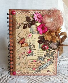 Handcrafted Altered Journal/Memory/Diary Book - Shabby Chic Style in Pinks and Creams - Perfect Birthday Gift/ Bridesmaid Gift by ThePurplePapillon on Etsy