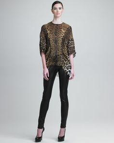 Leopard-Print Silk Tunic & Leather Leggings by Yves Saint Laurent at Neiman Marcus. #NMFAlltrends