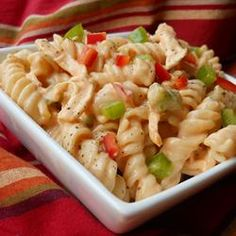 Buffalo Chicken Pasta Salad  Next time, I'll use less ranch and a bit more buffalo sauce! I also sub the chicken for 2 cans of chicken! Great for last min dinner!