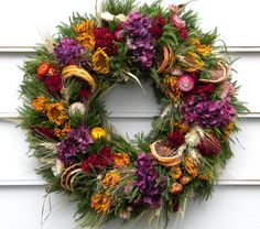 Natural Dried Flower Wreath with Orange Slices