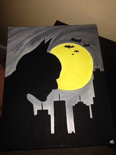 Insanely Cool DIY Batman Themed Bedroom Ideas For Your Littl. - Insanely Cool DIY Batman Themed Bedroom Ideas For Your Little Superheroes Batman Poster, Batman Art, Joker Batman, Batman Figures, Action Figures, Baby Room Paintings, Canvas Paintings, Batman Painting, Batman Drawing