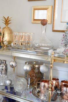 Gold, Silver Bar Cart For The #holidays Simple Christmas Dining Room  Decortions | Home