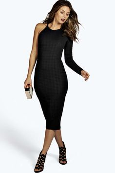 Nora Jaquard One Shoulder Midi Bodycon Dress alternative image