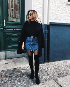 45 Cute Winter Outfits to Shop Now Vol. 3 / 21 45 Cute Winter Outfits to Shop Now Vol. Winter Skirt Outfit, Cute Winter Outfits, Winter Fashion Outfits, Fall Outfits, Casual Outfits, Denim Skirt Winter, Black Outfits, Casual Wear, Summer Outfits