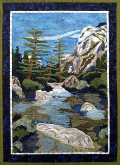 "Mirror Lake, Yosemite, 40 x 29"", by Lyra W. Bobo. Sections of deep blue lace were used to create shadow and depth in this landscape quilt."