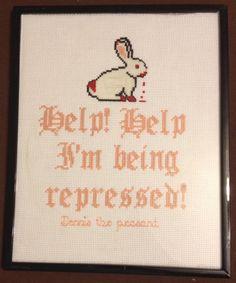 Monty Python & the Holy Grail Cross-Stitch w/DMC E940 glow in the dark bunny