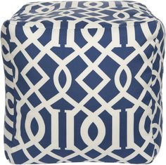Cobalt and Ivory Pouf