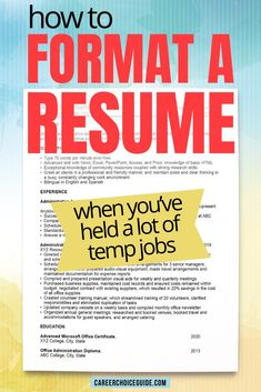This example administrative assistant resume shows you how to format your resume when you've held a lot of jobs through a temporary employment agency. #resumes #careerchoiceguide Cover Letter Tips, Writing A Cover Letter, Cover Letter For Resume, Cover Letters, Resume Writing Tips, Resume Tips, Resume Examples, Career Choices, Career Advice