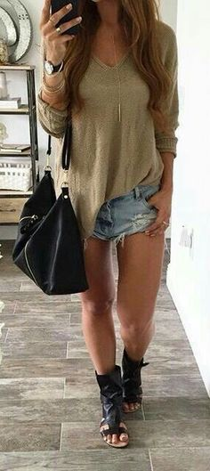 Short outfits, cute outfits with shorts, cool outfits, autumn winter fashion, spring Short Outfits, Casual Outfits, Cute Outfits, Fashion Outfits, Hippie Style, Hippie Boho, Spring Summer Fashion, Spring Outfits, Winter Fashion