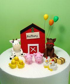 Fondant Farm Animals Cake Topper - Barn, balloons, cow, horse, pigs, ducks, hens