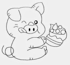 desenho porquinho comendo bolo para pintar